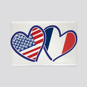 USA France Love Hearts Magnets