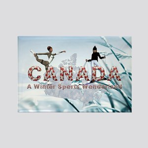 Canada Winter Sports Rectangle Magnet