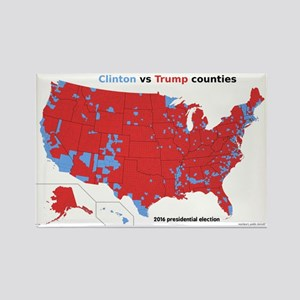 Trump vs Clinton Map Rectangle Magnet