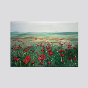 poppy poppies art Rectangle Magnet