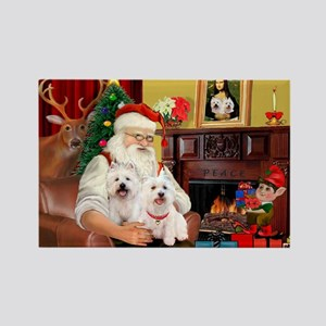 Santa/2 West Highland Rectangle Magnet