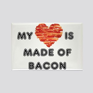 My heart is made of bacon Magnets