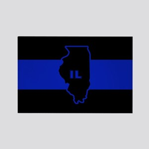 Thin Blue Line Illinois Rectangle Magnet