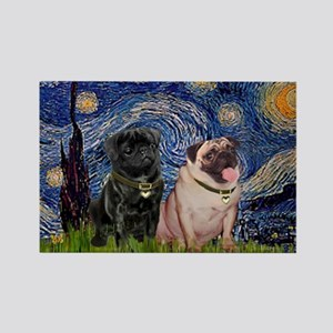 Starry Night & Pug Pair Rectangle Magnet