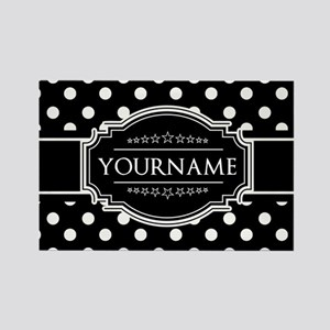 Custom Black and White Polka Dots Rectangle Magnet