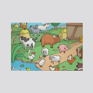Farm Animals Rectangle Magnet