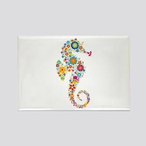 Cute Colorful Retro Floral Sea Horse Magnets