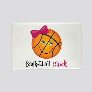 Pink Basketball Chick Rectangle Magnet