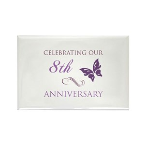 8th Wedding Anniversary.8th Wedding Aniversary Butterfly Rectangle Magne