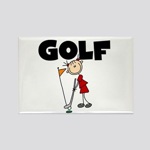 Stick Figure Girls GOLF Rectangle Magnet