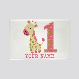 Pink Giraffe First Birthday - Personalized Rectang
