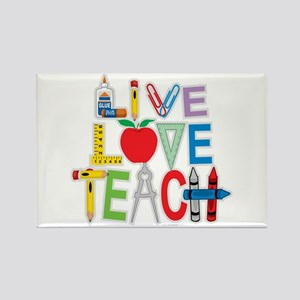 Live Love Teach Rectangle Magnet