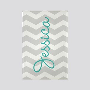 Custom name gray chevron Magnets