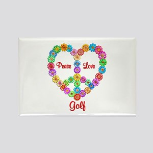 Golf Peace Love Rectangle Magnet