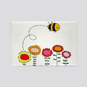 Bee Buzzing Flower Garden Shower Curtain Wh Magnet