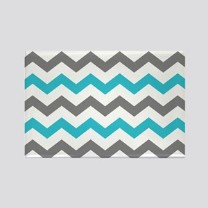 Teal and Gray Chevron Pattern Magnets