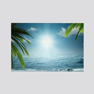 Tropical Beach Rectangle Magnet