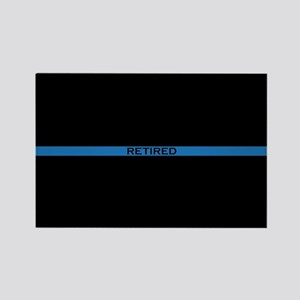 Retired Thin Blue Line Rectangle Magnet