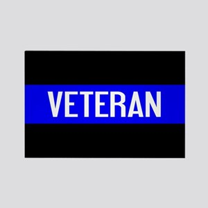 Police: Veteran & The Thin Blue L Rectangle Magnet