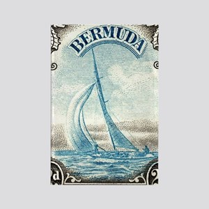 1938 Bermuda Yacht Postage Stamp Rectangle Magnet