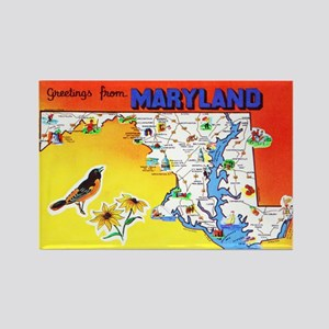 Maryland Map Greetings Rectangle Magnet