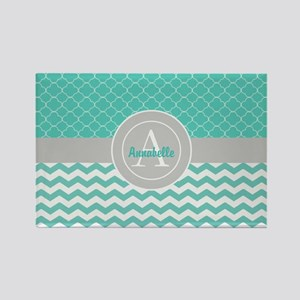 Teal Gray Chevron Quatrefoil Magnets