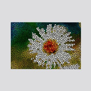 Stained Glass White Flower Rectangle Magnet
