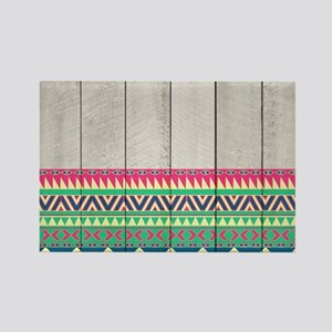 Vibrant Pink Turquoise Aztec Patt Rectangle Magnet