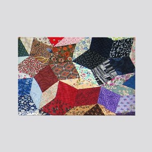 Tumbling Blocks Patchwork Quilt Rectangle Magnet