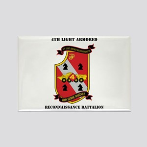 4th LAR Battalion with Text Rectangle Magnet