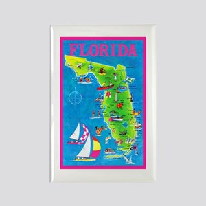 Florida Map Greetings Rectangle Magnet