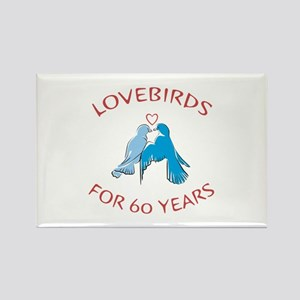 60th Lovebirds Rectangle Magnet