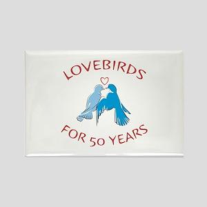 50th Lovebirds Rectangle Magnet