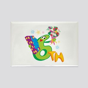 6th Celebration Rectangle Magnet