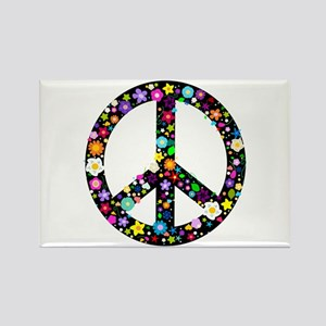 Hippie Flowery Peace Sign Rectangle Magnet
