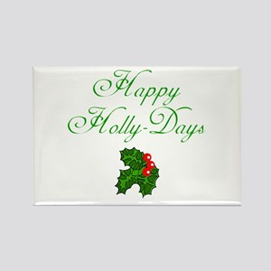 Happy Holly Days Holiday Rectangle Magnet