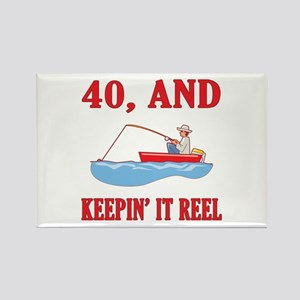 40 And Keepin' It Reel Rectangle Magnet