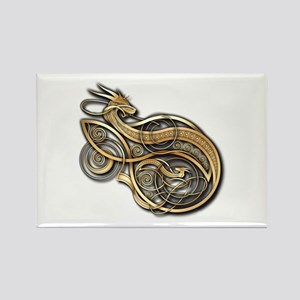 Gold Norse Dragon Rectangle Magnet