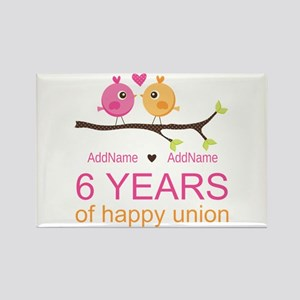 6th Anniversary Personalized Rectangle Magnet