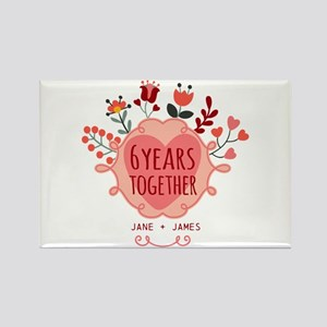 Personalized 6th Anniversary Rectangle Magnet