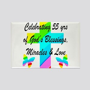 BLESSED 55 YR OLD Rectangle Magnet