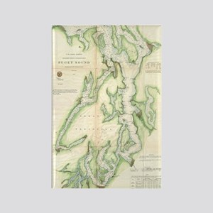 Vintage Map of The Puget Sound (1 Rectangle Magnet