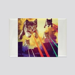 Laser Eyes Space Cats Flying T-Shirt Magnets