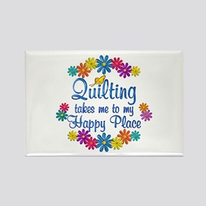 Quilting Happy Place Rectangle Magnet