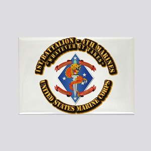 1st Bn - 4th Marines with Text Rectangle Magnet