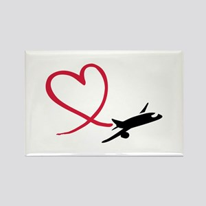 Airplane red heart Rectangle Magnet