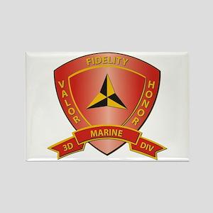 USMC - HQ Bn - 3rd Marine Division Rectangle Magne