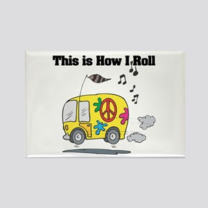 How I Roll (Hippie Bus/Van) Rectangle Magnet