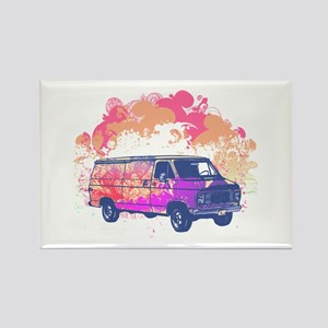 Retro Hippie Van Grunge Style Rectangle Magnet