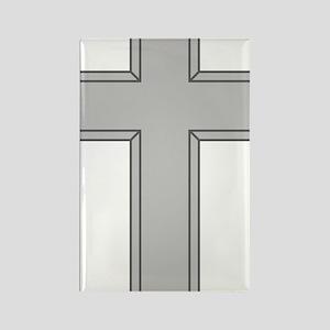 Silver Cross Rectangle Magnet